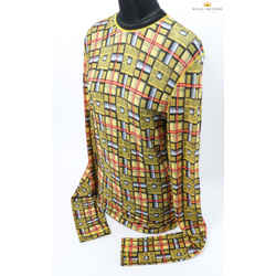 Jean-paul Gaultier Woman's Plaid Yellow Long Sleeve Mini Dress