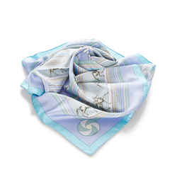 Blue Hermes Sequences Silk Scarf