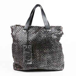 Marsell Bag Metallic Black Woven Leather Crossbody