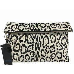 Escada Leopard Print Calf Hair Foldover Clutch Black & White