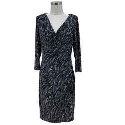 N1553 Lauren Ralph Lauren Designer Dress Size 8 Medium Black White Sheath V-neck