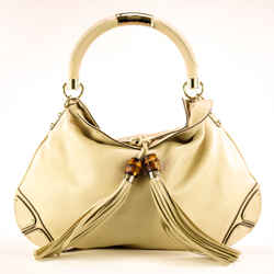 Gucci Indy Top Leather Handle  White Ivory  Hobo Bag