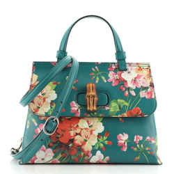 Bamboo Top Handle Bag Blooms Print Leather Small