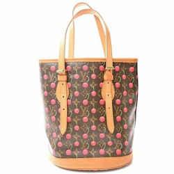 Auth Louis Vuitton Louis Vuitton Monogram Cherry Bucket Pm Shoulder Bag Brown Pv