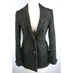 Burberry Brit Black Tweed 2 Button Wool Blend Jacket Coat Size 2 New $650