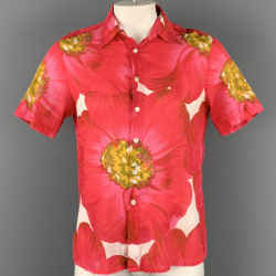 THEORY Size L Pink & Yellow Floral Cotton Button Up Short Sleeve Shirt