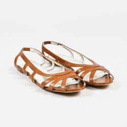 Jil Sander Brown Leather Strappy Open Toe Flat Sandals SZ 41