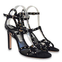 New $1411 Jimmy Choo Beverly Strappy Stiletto Suede Sandals - Black - Size 40