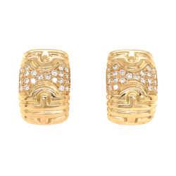 Bvlgari 18k Yellow Gold Parentesi Diamond Earrings