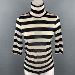 MAX MARA Size L Black & White Knitted Stripe Turtleneck Pullover