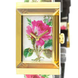 Never Used GUCCI G-Frame Floral Gold Plated Quartz Watch YA147406 BF519821