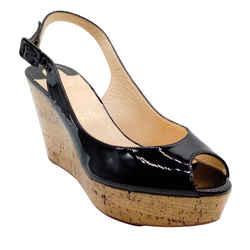 Christian Louboutin Black Patent Leather Peep Toe Wedges