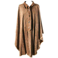 Vintage Fendi Striated Leather Cashmere Lined Fur Trim Poncho