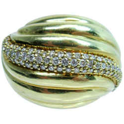 DAVID YURMAN Diamond Ring 18 Karat Yellow Gold Size 7 1/2