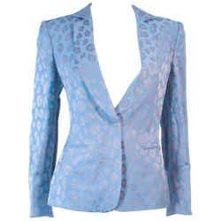 GIORGIO ARMANI Blue Animal Print Jacket w/ Gold Studs Size 42