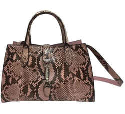 "Gucci Jackie Soft Pink Python Skin Leather Cross Body Bag 8""L x 12.5""W x 5""H Item #: 22995279"