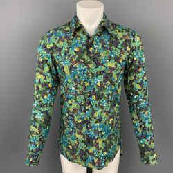 DRIES VAN NOTEN S/S 20 Size M Green & Blue Beaded Viscose Button Up Long Sleeve Shirt