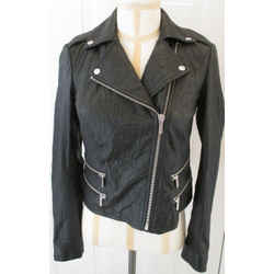 Michael Michael Kors Black Leather Motorcycle Jacket W/ Zippers Medium $495 Nwt