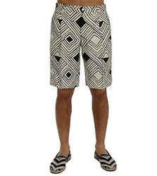 Dolce & Gabbana White Black Striped Casual Men's Shorts