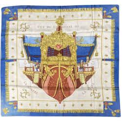 Hermes Vintage Vue De Carrosse De La Galere La Reale Silk Scarf, Circa 1950s