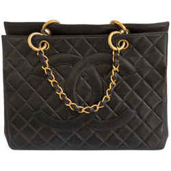 Chanel Vintage Quilted 1996 Black Caviar Leather Tote