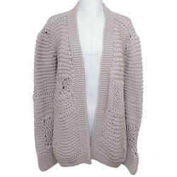 Chloe Cardigan Sweater Knit Grey Lavender Open Front Long Sleeve Sz S 2008