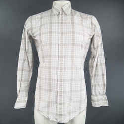Thom Browne Size L Light Gray Cotton Long Sleeve Plaid Pattern Shirt