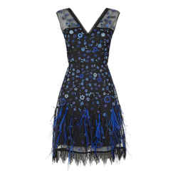 Elie Tahari Black / Blue Embroidered Jayla Cocktail Dress