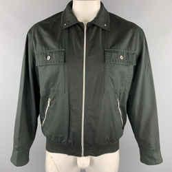Vintage Versace Jeans Couture Size M Black Cotton Full Zip Silver Buttons Bomber Jacket