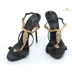 Giuseppe Zanotti Scorpion Crystal Embellished High Heel Black Sandals