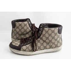 Gucci Supreme Canvas High Top Trainer Sneaker Beige/ebony