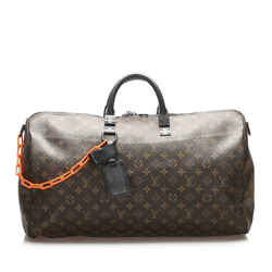 Vintage Authentic Louis Vuitton Brown Monogram Keepall Bandouliere 50 France