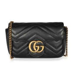 Gucci Black Matelasse Leather GG Marmont Super Mini Bag