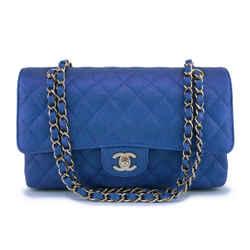 NIB 19S Chanel Iridescent Blue Caviar Medium Classic Double Flap Bag GHW