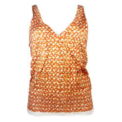 DRIES VAN NOTEN Orange and Cream V-Neck Knit Tank Top Size Small