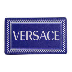 NEW $250 VERSACE Tribute 90's LOGO Print Blue Saffiano Leather CREDIT CARD CASE