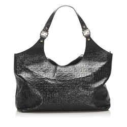 Vintage Authentic Fendi Black  Leather Zucca Shoulder Bag Italy