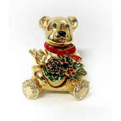 St John Vintage 22kgp Pin Brooch Christmas Teddy Bear Pine Cone Collectible
