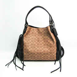 Coach Signature Edie 37123 Women's Leather,Coated Canvas Tote Bag Beige BF516042