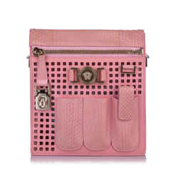 Vintage Authentic Versace Pink Perforated Patent Leather Crossbody Bag ITALY