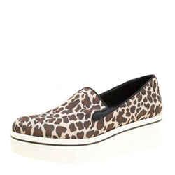 Stella McCartney Multicolor Leopard Print Canvas Platform Slip On Sneakers Si...