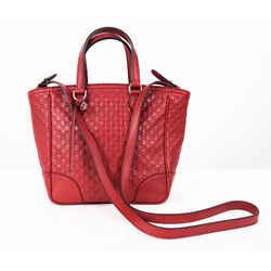New $1,100 Gucci Red Micro-guccissima Leather Small Tote Crossbody Bree Bag