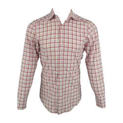 Gucci Size S White & Red Plaid Cotton Button Up Long Sleeve Shirt