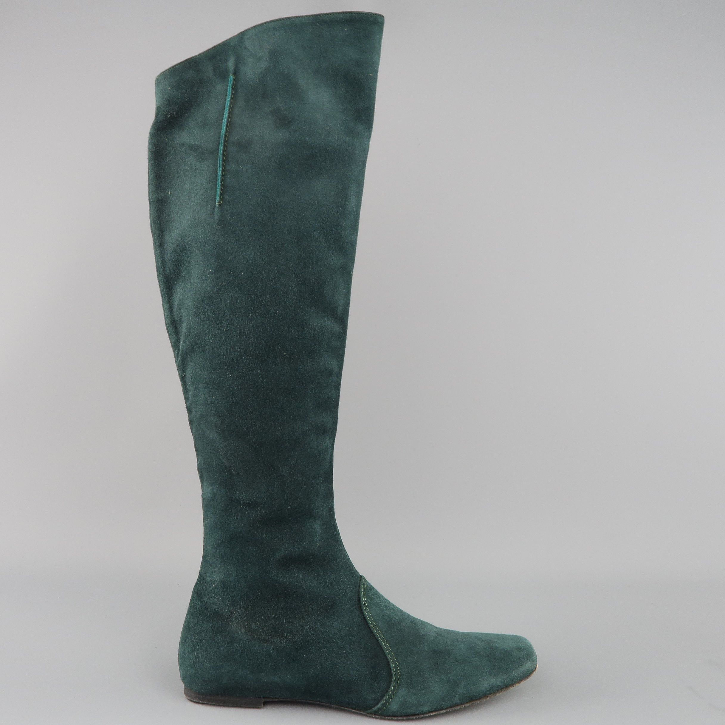 Etro Size 10 Forest Green Suede Knee