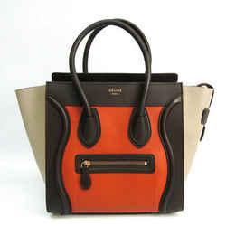 Celine Luggage Micro Shopper 167793 Women's Leather Handbag Beige,dark Bf519338