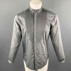 Emporio Armani Size S Dark Gray Solid Cotton Nehru Collar Long Sleeve Shirt