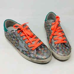 Golden Goose 38 Silver Canvas Sparkle Sneakers 2400-558-1720