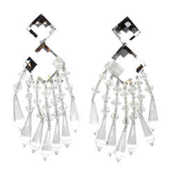 Balmain Clear Exceptional Chanderlier Crystal Earrings