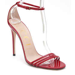 GUCCI Red Patent Leather Sandal Ankle Strap Strappy Heels Peep Toe Sz 38