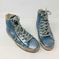 Golden Goose 37 Light Blue Canvas Silver Star Sneakers 2400-560-1720